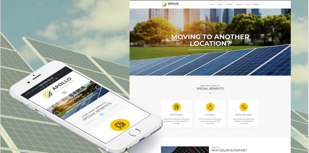 solar company website with unique design