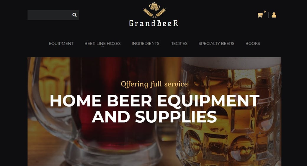 beer supplies website design