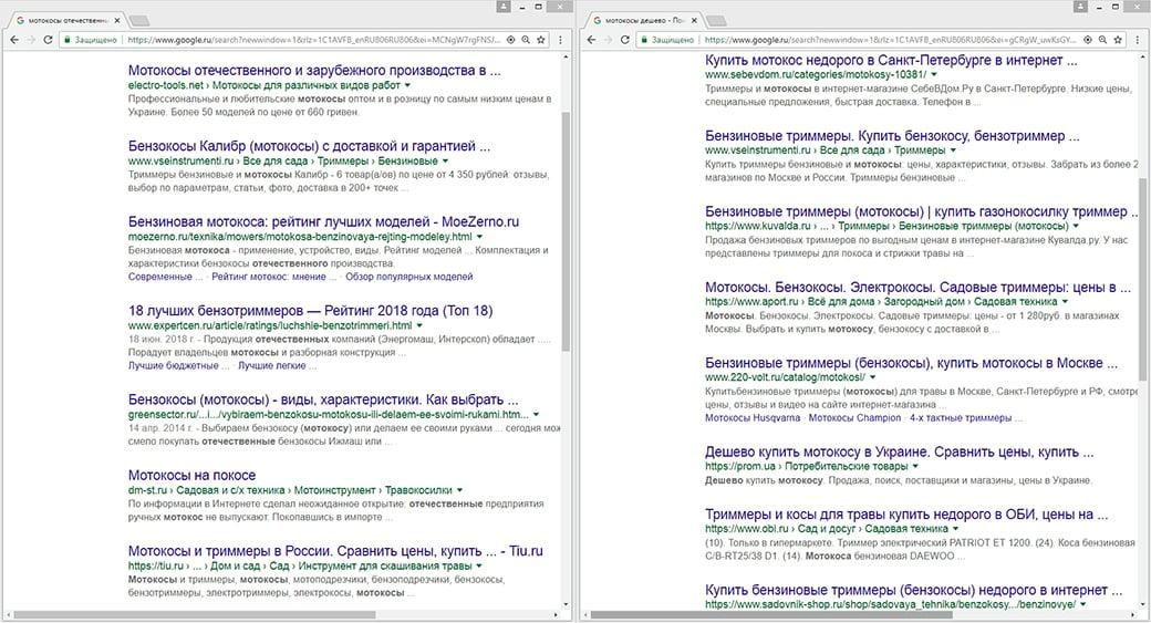 кластеризация ключевых слов и их отображение в поиске Google