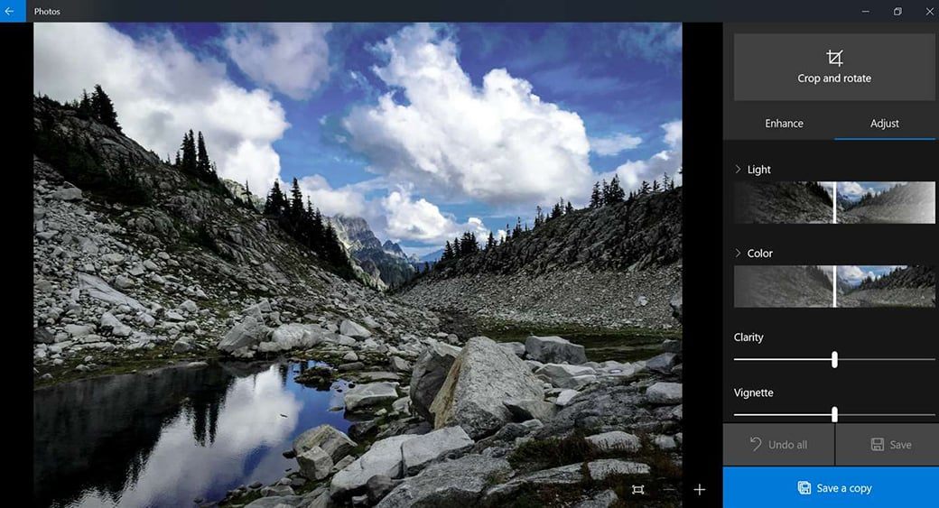 Windows 10 Photos App easy video cutter