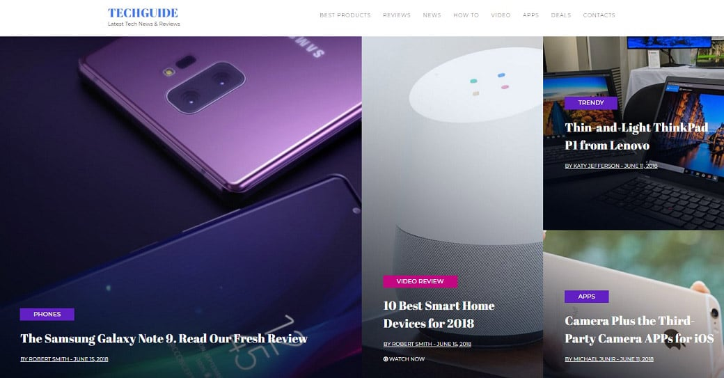 techguide review website template