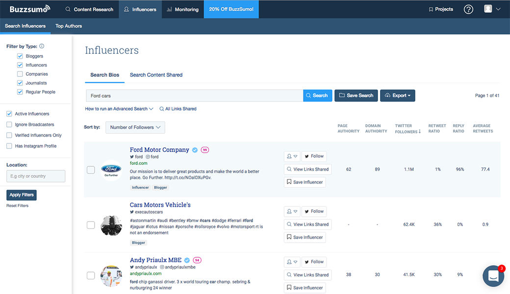 influencer marketing with BuzzSumo