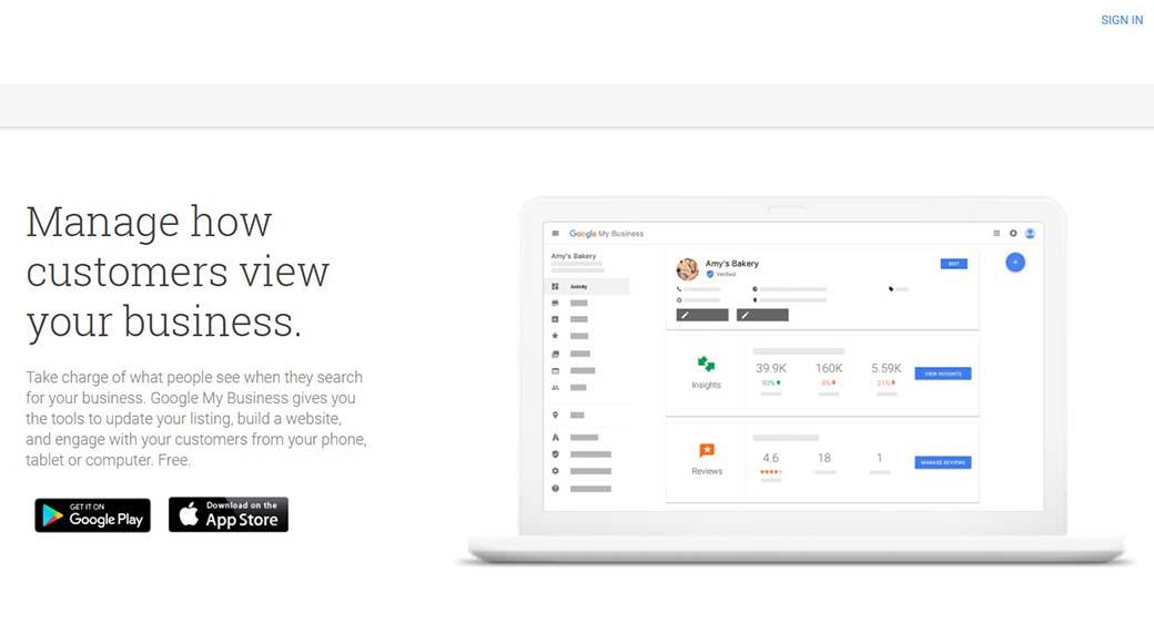 Google toolbar for Google My Business