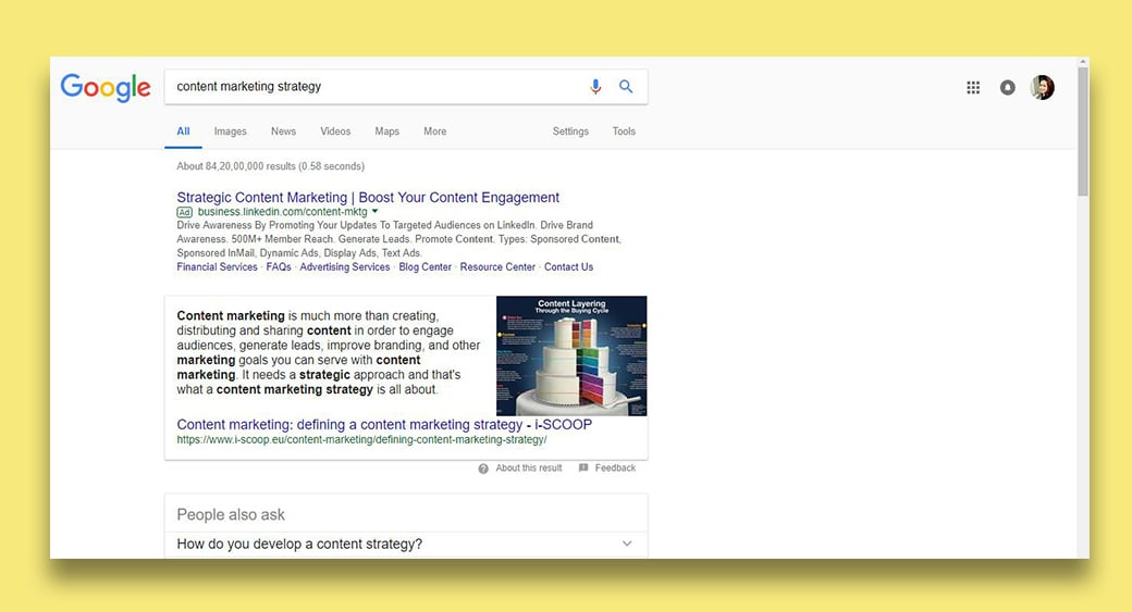 content marketing search results image