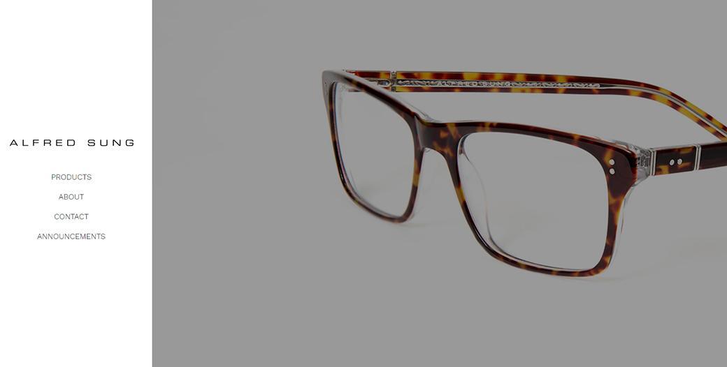 Alfred Sung Eyewear minimalist web design