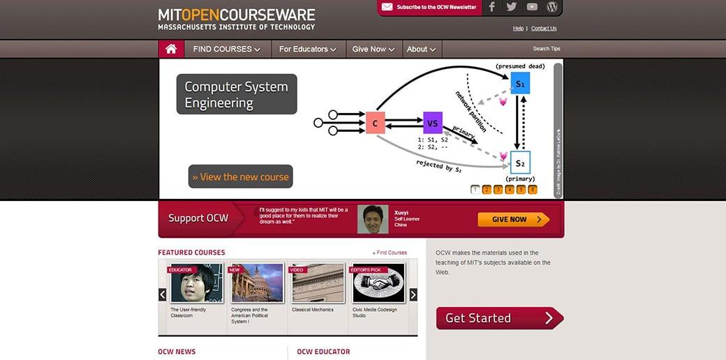 MIT OpenCourseWare coding website