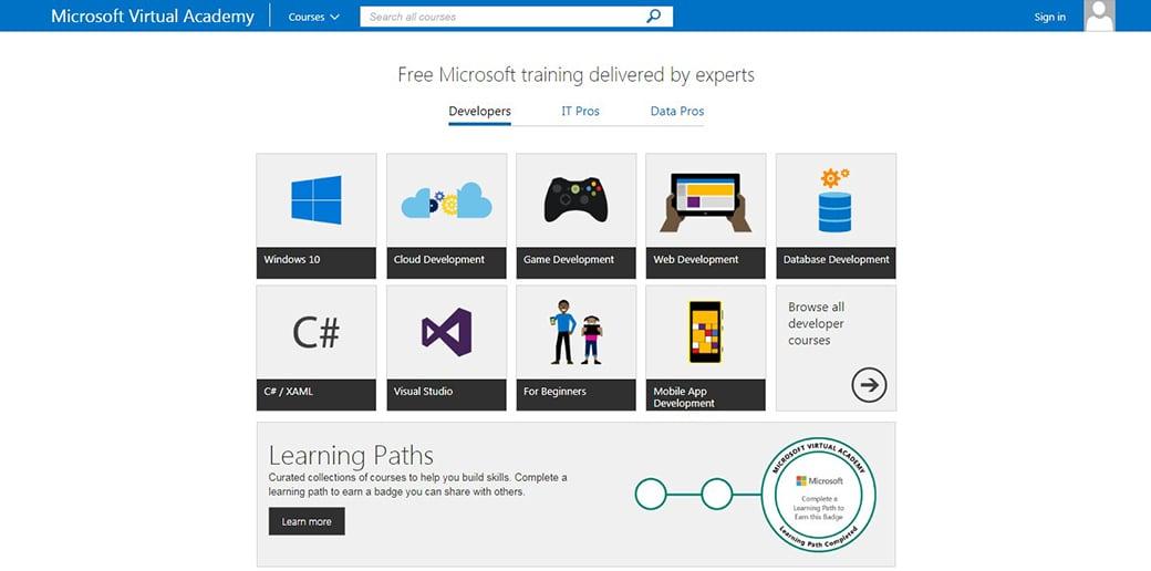 Microsoft Virtual Academy coding website
