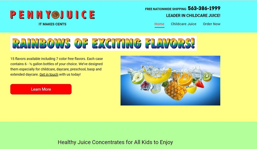 PennyJuice website design example with disadvantages