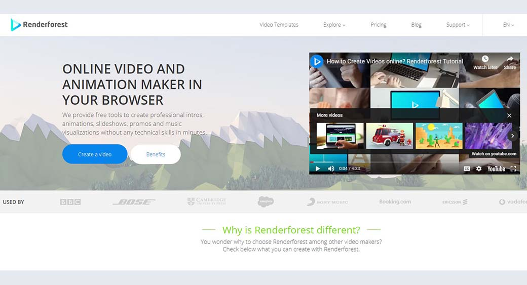 Renderforest video animation templates