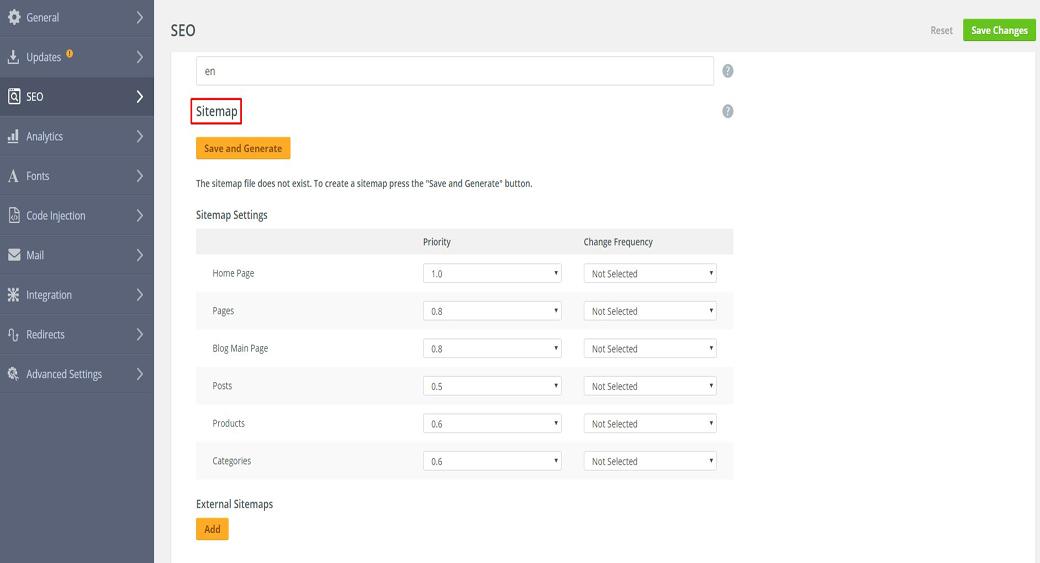 SEO Sitemap in the Top Website Builder