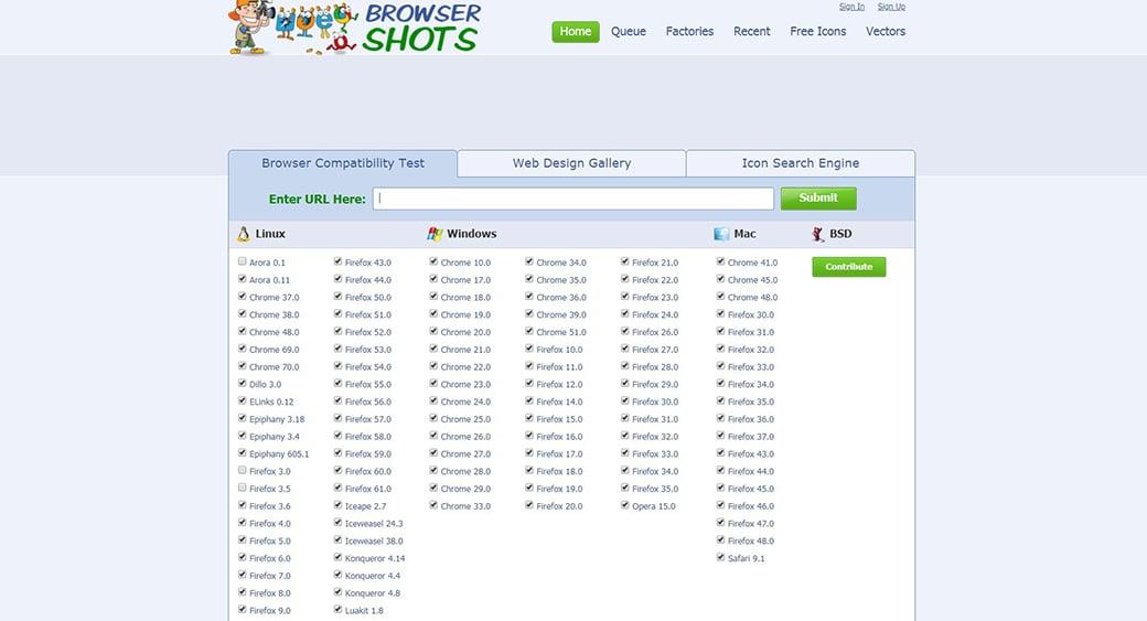 BrowserShots website testing tool