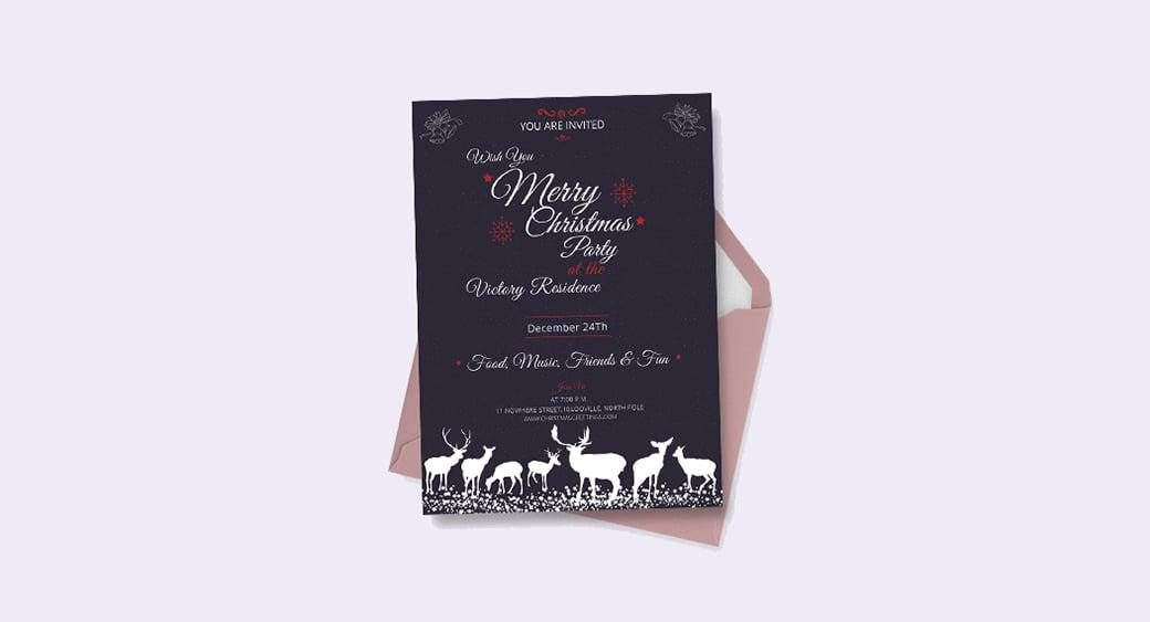 Free Chalkboard Christmas Invitation image