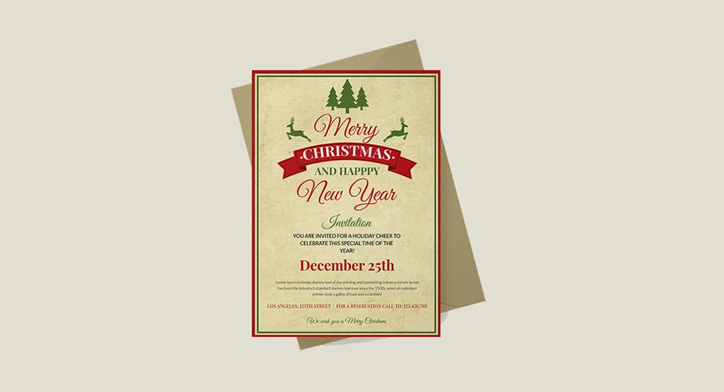 Free Vintage Christmas Invitation image