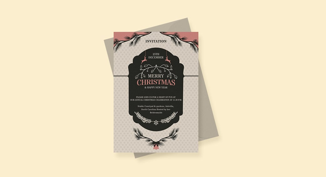 Free Merry Christmas and New Year Invitation image