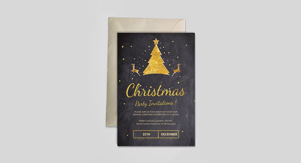 Free Chalkboard Christmas Party Invitation image