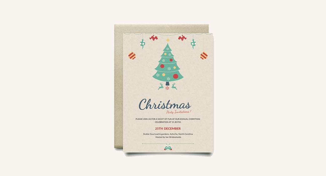 Free Modern Christmas Party Invitation image