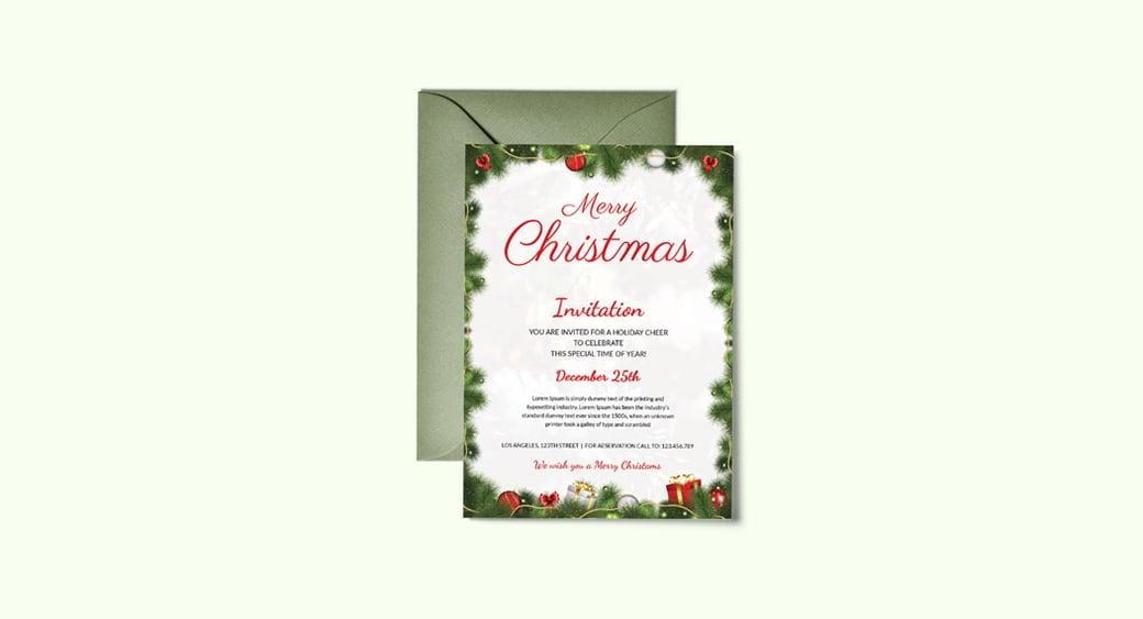 Free Simple Christmas Party Invitation image