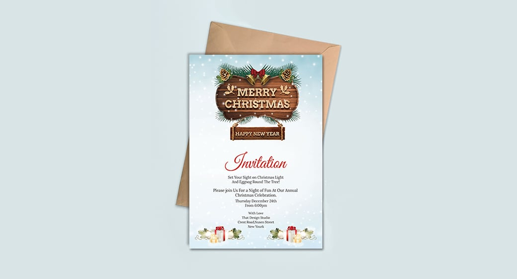 Free Merry Christmas and New Year Party Invitation image