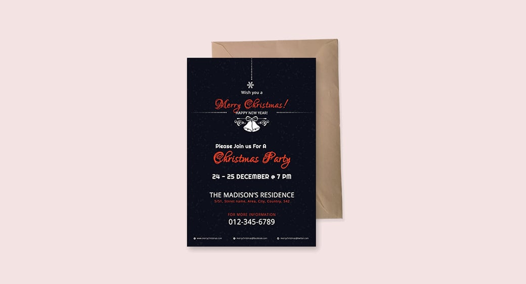 Free Modern Christmas Invitation image
