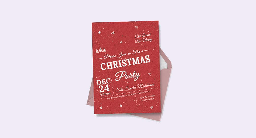 Free Retro Christmas Invitation image