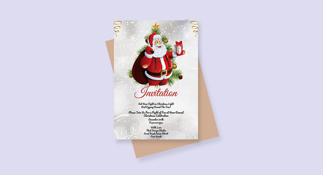 Free Simple Christmas free holiday invitation templates