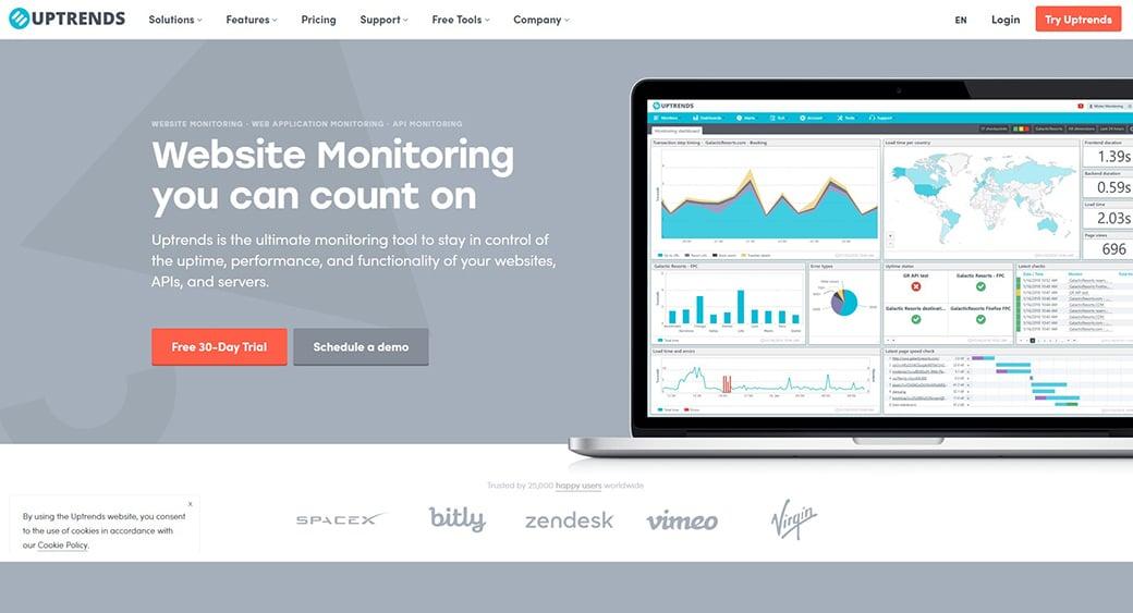 Uptrends free website testing tool