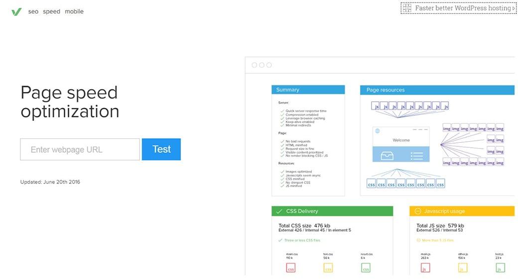 Varvy Pagespeed free website testing tool