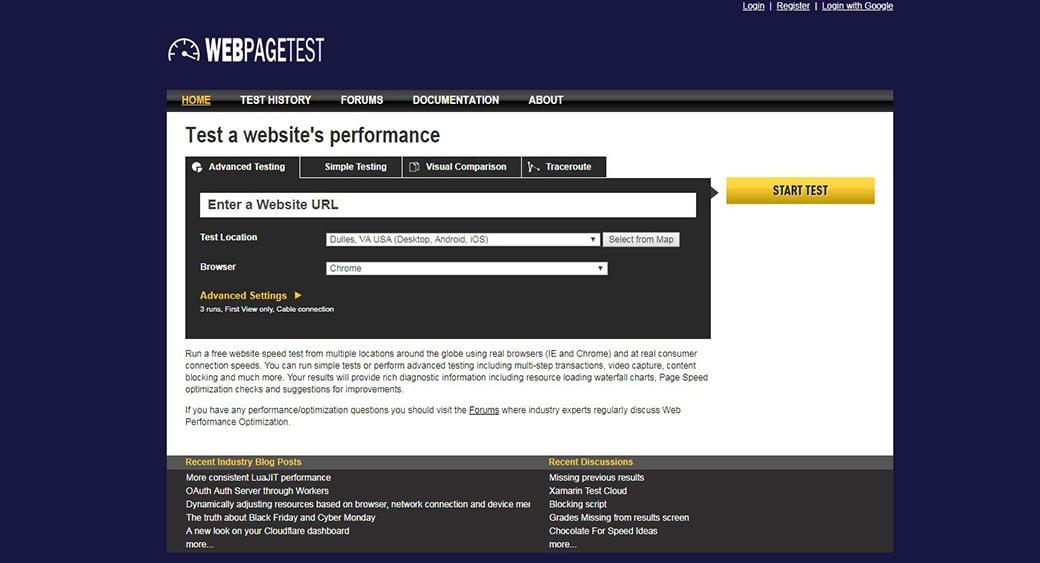free website testing tool WebPageTest