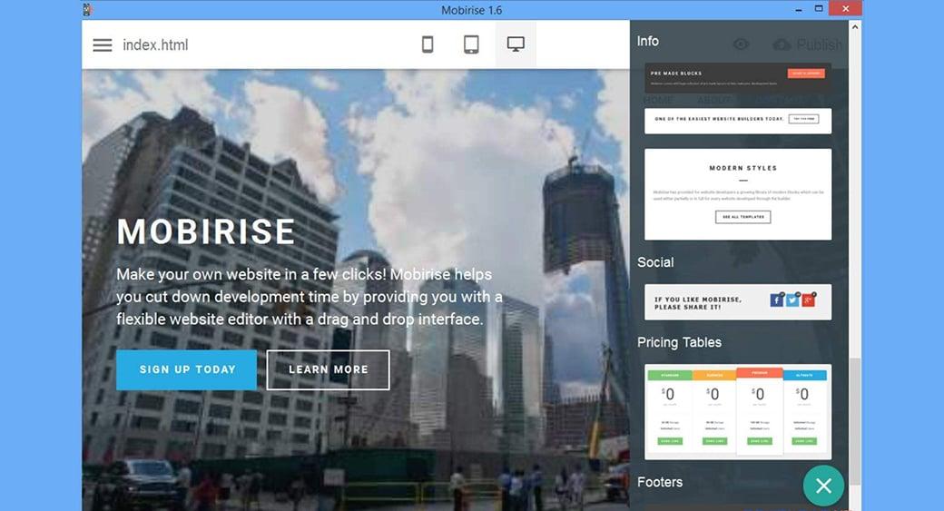 mobirise website builder image