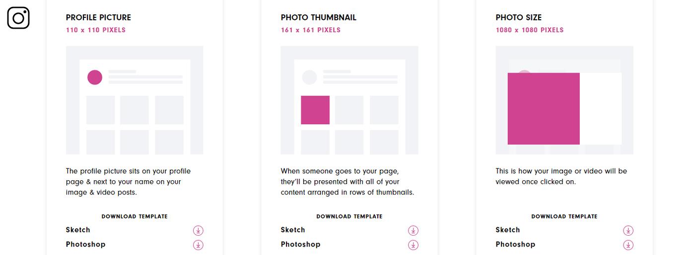 Instagram Profile Dimensions Template