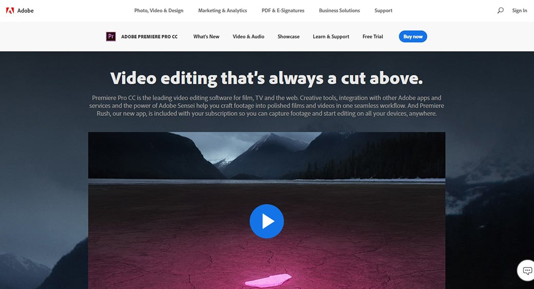 Adobe Premiere Pro video editor image