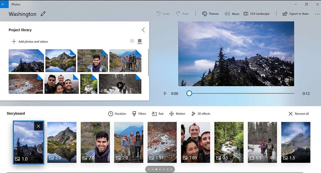 Windows 10 Photos App video cutter image