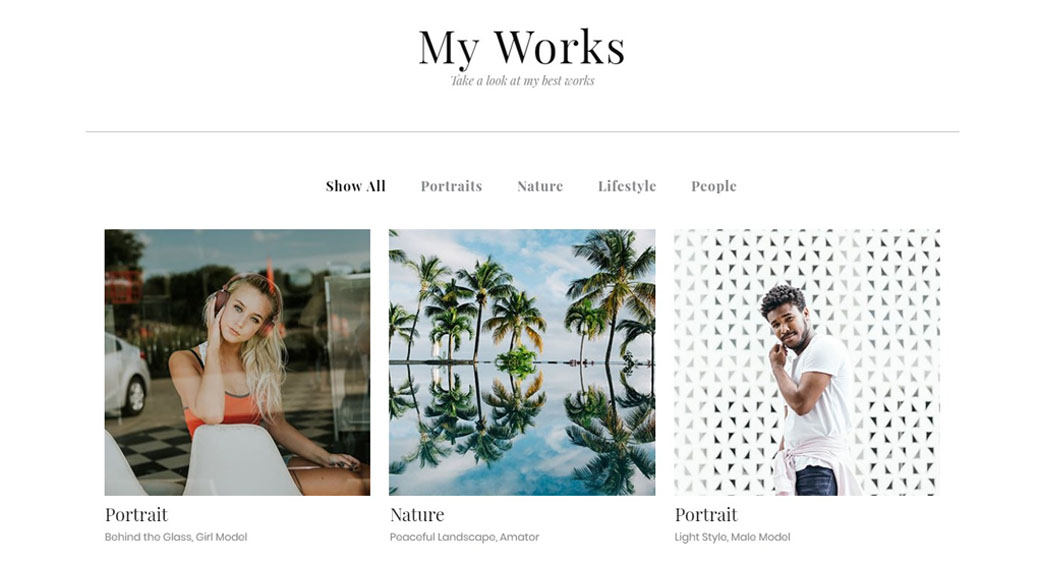 photography template for website