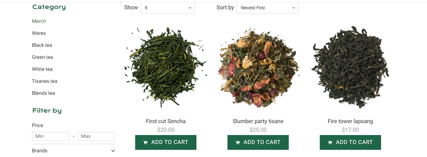 Tea Website Design for Tea and Coffee Shop