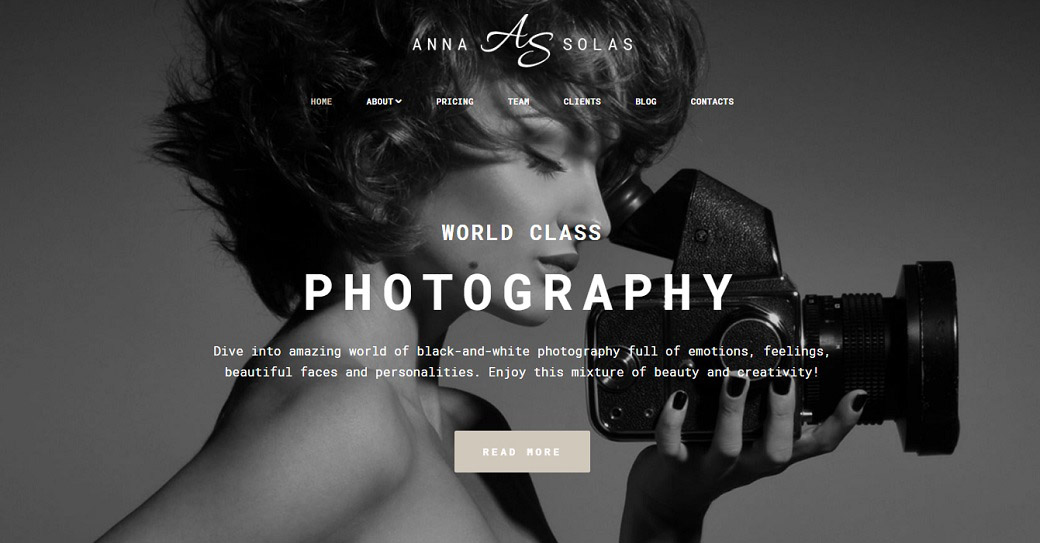Photography Portfolio Website Template for Photo Artist