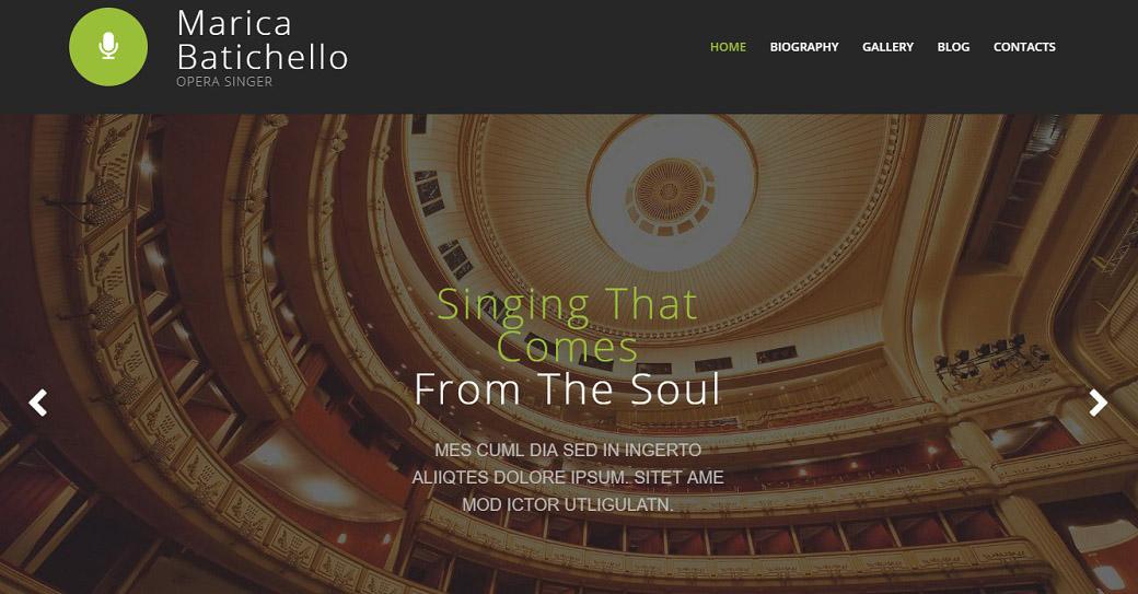 Opera Singer Website Design for Classical Music Site
