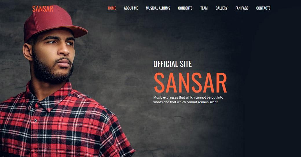 Music Artist Website Template for Singer