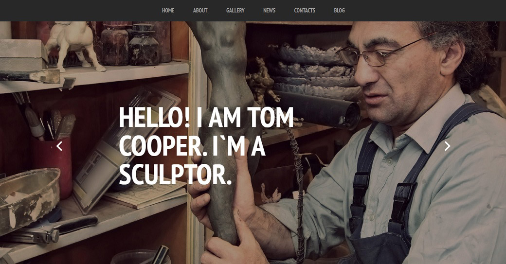 Artist Portfolio Website Template for Sculptor Site