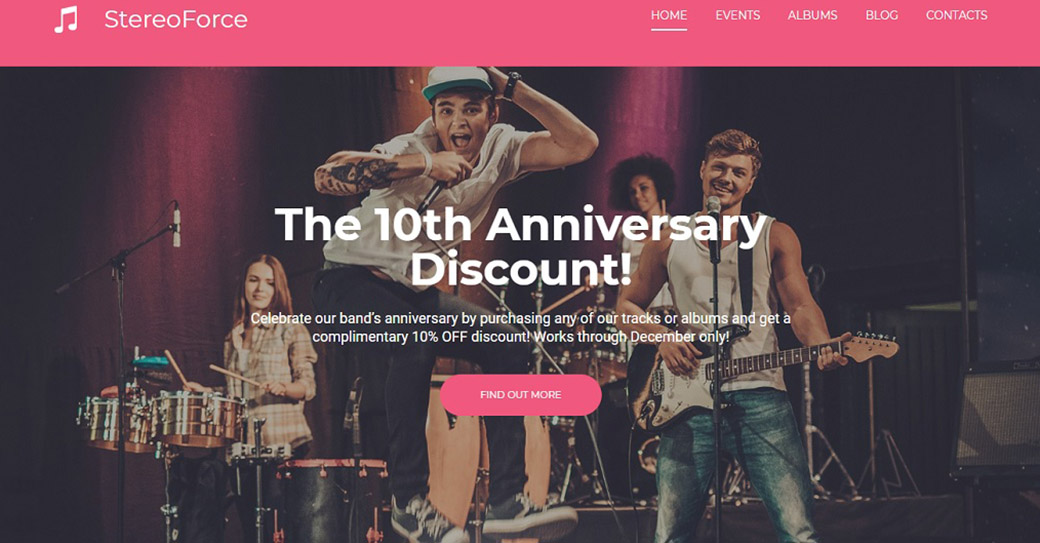 Music Band Website Template for Artists