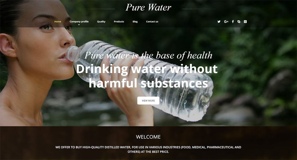 Drinking Water Website Template for Water Filters