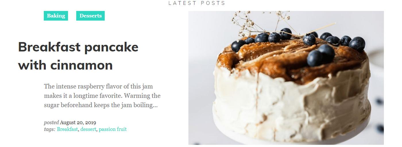 Storytelling Website Template for Food Blog
