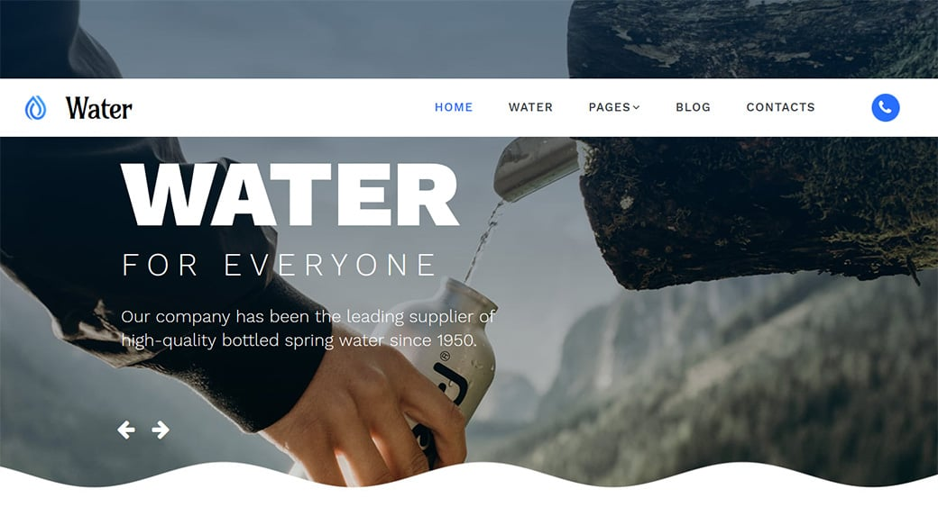 Water Website Design Template for Spring Water Supplier
