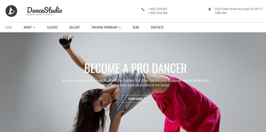 sports website - dance studio