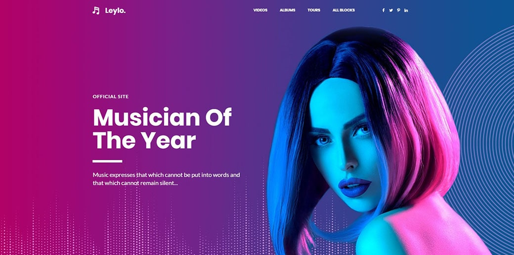 website builder for musicians - landing page