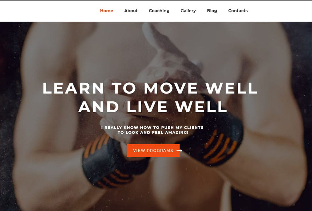 sports websites - personal trainer