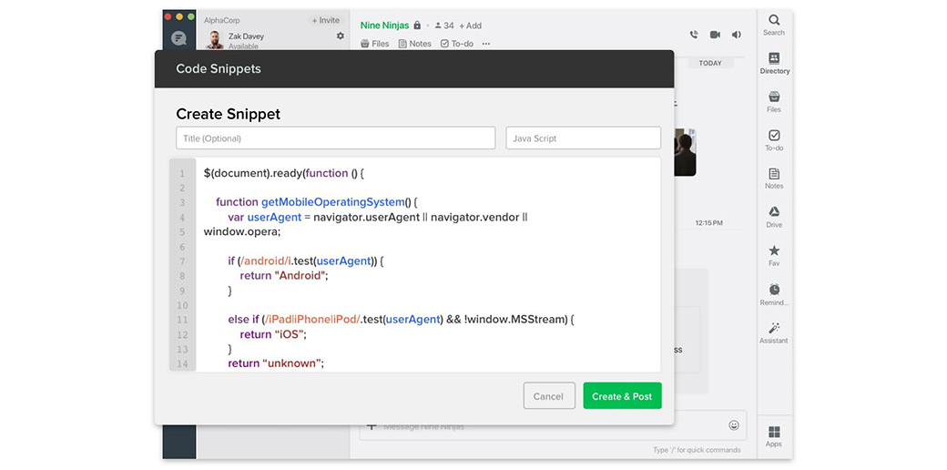 snippets in messaging apps for business