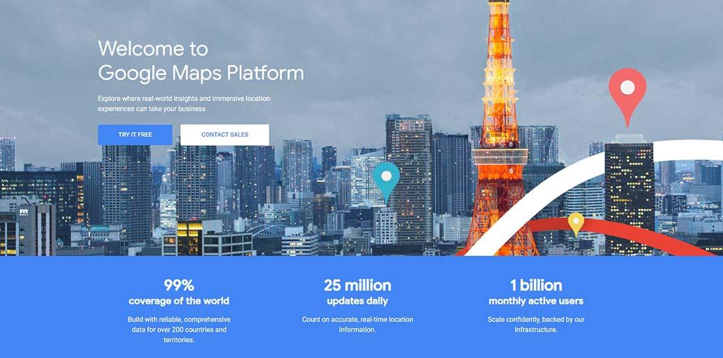 Geo location most popular APIs - Google Maps