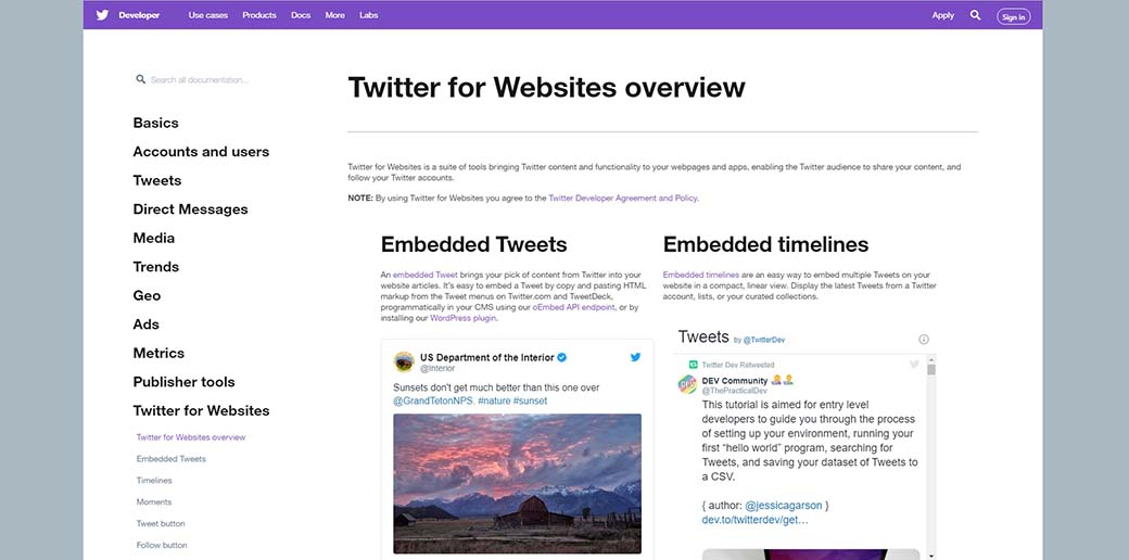 Twitter for websites - most popular APIs