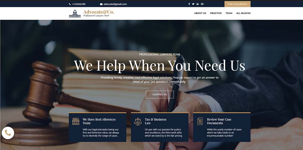 lawyer landing page template