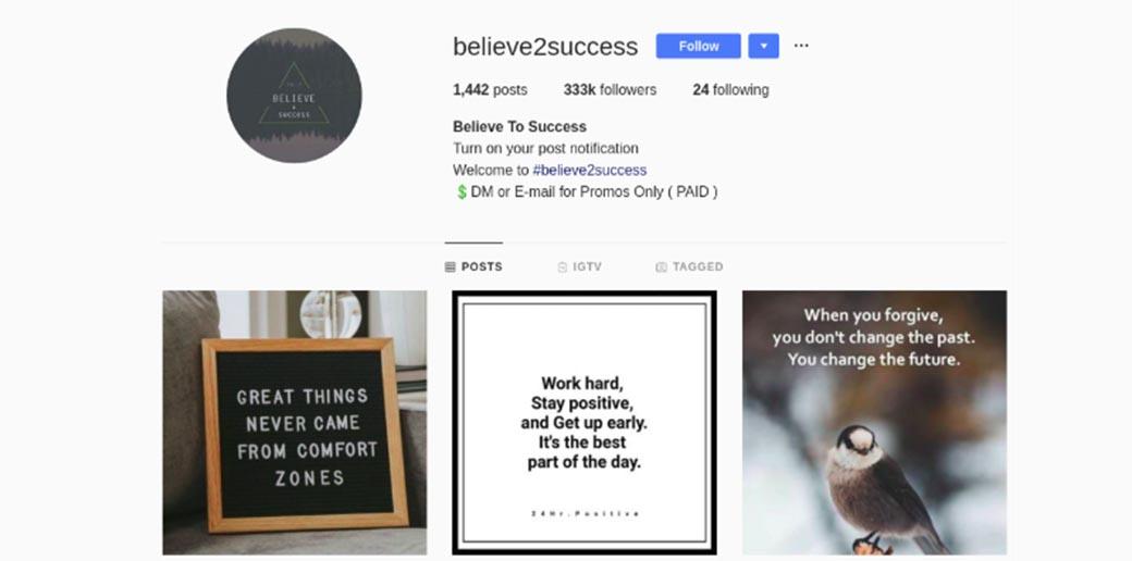 believe2success - Instagram account
